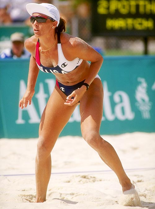 Holly McPeak of the United States Beach Volleyball team in action at the Summer Olympics in Atlanta, Georgia, July 1996