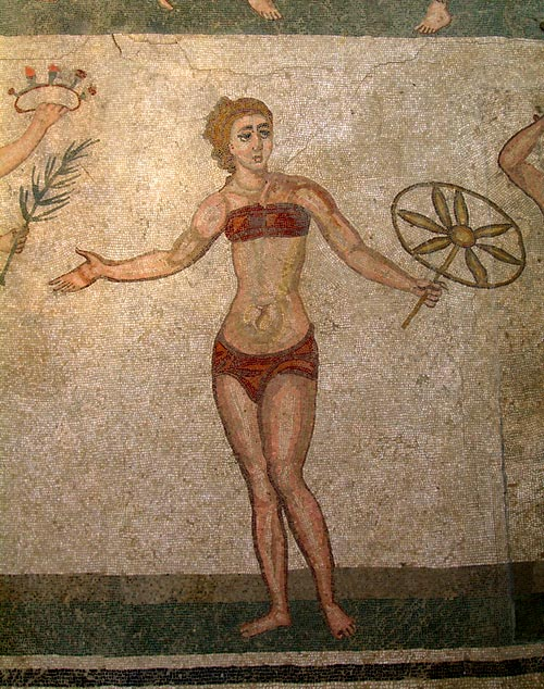 A close-up of the mosaic at the Villa Romana del Casale, depicting women in bikinis