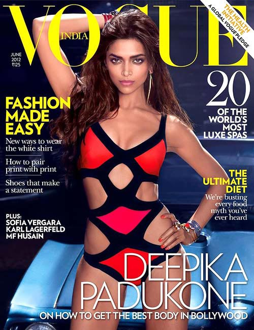 Deepika Padukone in a bondage-style Herve Leger swimsuit on the cover of Vogue Magazine last month