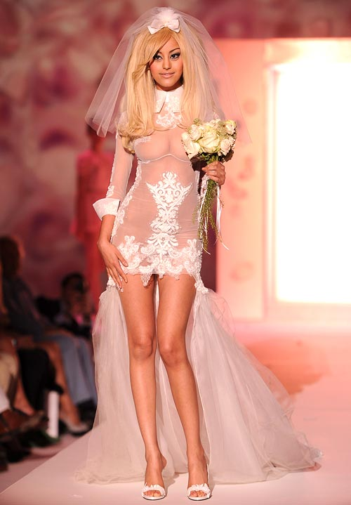 Zahia Dehar presents her Fall-Winter 2012/2013 lingerie line at Paris Couture Week on July 2, 2012