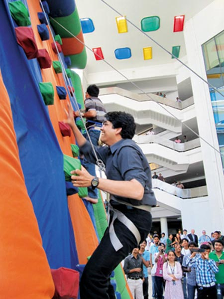 Cognizant's young CEO Francisco D'Souza participates in a team building activity