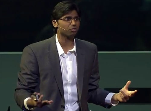 A video grab of Dr Sandeep Kishore presenting a lecture at the TEDMED 2012 conference.
