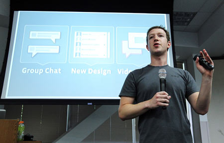 Facebook CEO Mark Zuckerberg speaks during a news conference at Facebook headquarters July 6, 2011 in Palo Alto, California.  Zuckerberg announced new features that are coming to Facebook including video chat and a group chat feature.