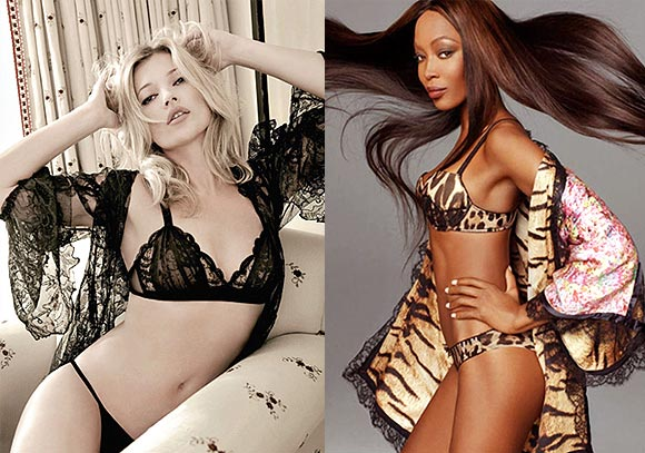 Kate Moss and (right) Naomi Campbell