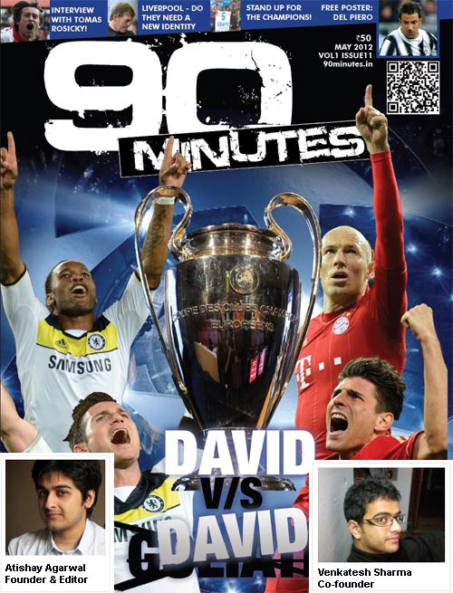 May 2012 issue of 90 Minutes; Inset: The two co-founders of the magazine