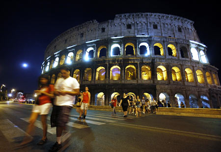 Rome's ancient Colosseum is lit up to mark the 10th anniversary of the 9/11 attacks on New York's World Trade Center.