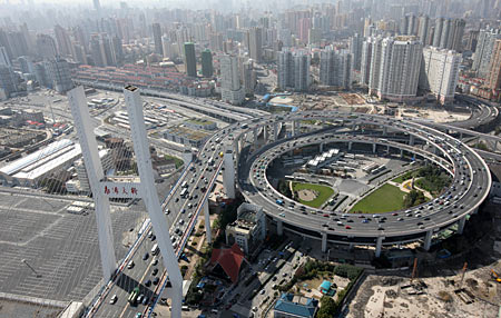 An aerial view, released April 14, 2010 shows Nanpu Bridge, built from funds provided by the Asian Development Bank (ADB), in Shanghai.