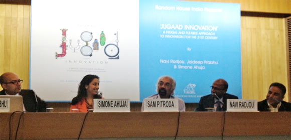Sam Pitroda, who wrote the foreword for Jugaad Innovation, with the authors at the book launch in Delhi