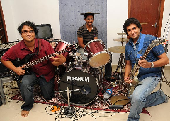 (L-R) Wild Things Federation band members Govind Jaya Shouri, Venkat Ramna Sai and Abhimanyu Ananth