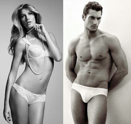 Gisele Bundchen and (right) David Gandy