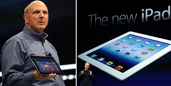 Microsoft CEO Steve Ballmer holds the new Surface as it is unveiled in Los Angeles, California, June 18, 2012; Apple CEO Tim Cook speaks during an Apple event as he introduces the new iPad as an image the device is projected on screen in San Francisco, California March 7, 2012