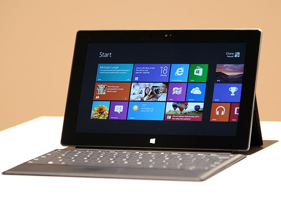 The new Surface tablet computer by Microsoft is displayed at its unveiling in Los Angeles, California, June 18, 2012.
