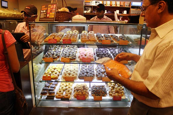 Dunkin' Donuts at Connaught Place in New Delhi