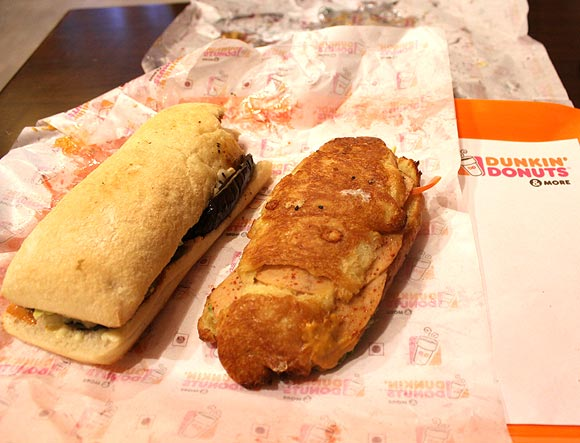 My Spicy Grilled Vegetable Ciabatta Sandwich (left) and Hitesh's Croissant Paprika Chicken Salami