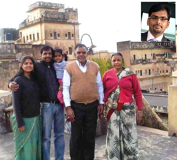A file photo of Vikas Khemani with his parents, wife and daughter at their ancestral home in Mandawa; Inset: Vikas Khemani
