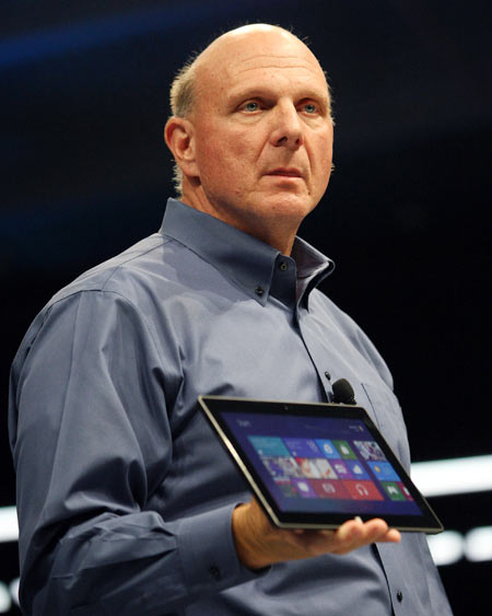 Microsoft CEO Steve Ballmer holds the new Surface as it is unveiled in Los Angeles, California, June 18, 2012