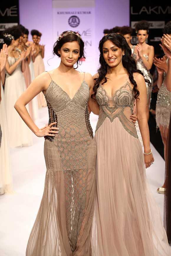 Dia Mirza with designer Khushali Kumar