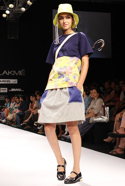 A model presents a Nimish Shah creation