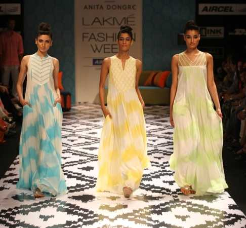 Models present Anita Dongre's creations at Lakme Fashion Week