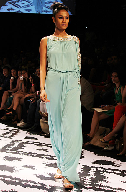 Surelee Joseph in a one-piece palazzo jumpsuit by Anita Dongre