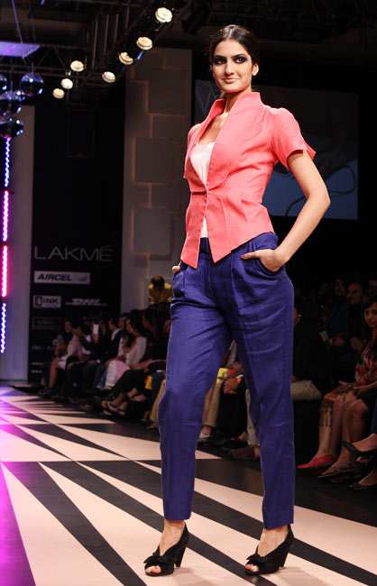A model poses in a Narendra Kumar outfit
