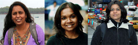 From left: Mridula Dwivedi, Neelima Vallangi and Lakshmi Sharath