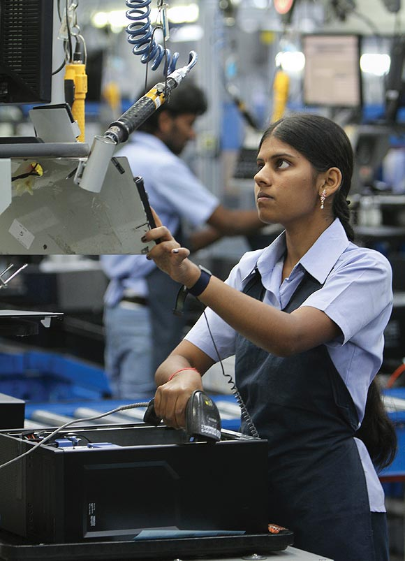 A woman employee in a Dell factory in Kancheepuram, Tamil Nadu