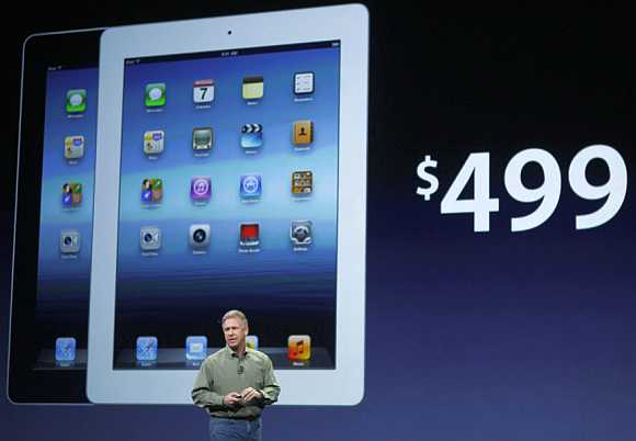 Apple's Senior Vice President of Worldwide Marketing, Schiller, speaks about the low start price for the new iPad in San Francisco on March 7, 2012.