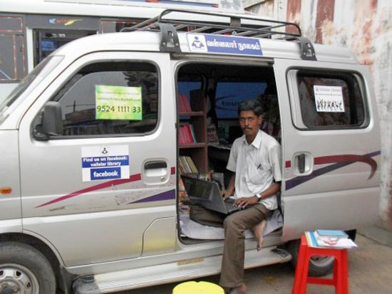 G Murgaraj in his mobile library van