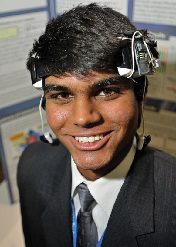 Neel Patel presented a device that uses sounds instead of pictures to convey information