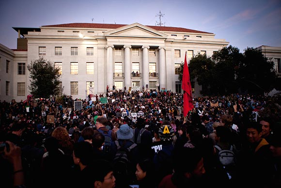 University of California, Berkeley students protest on campus as part of an open university strike in solidarity with the Occupy Wall Street movement November 15, 2011 in Berkeley, California.  Teach-outs, workshops, public readings, and marches will culminate in an attempt to re-establish an Occupy Cal encampment that was shut down by police last week.