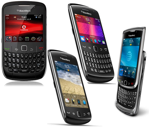A collage of BlackBerry phones whose prices have been slashed