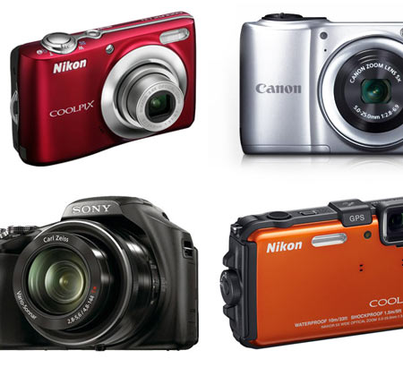 A collage of point-and-shoot cameras