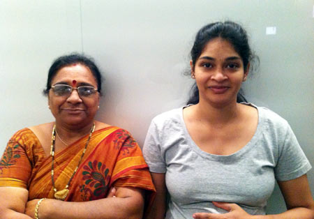 Pavan Chebolu (right) with her mother