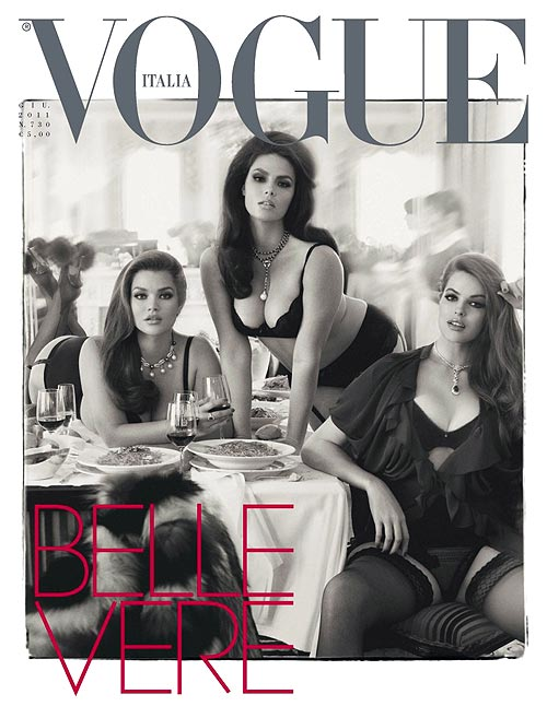 Plus-size models Tara Lynn, Candice Huffine and Robyn Lawley on the cover of Vogue's Italian edition last year