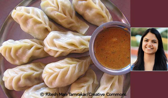 Momos and (inset) Jabish Gohlyan