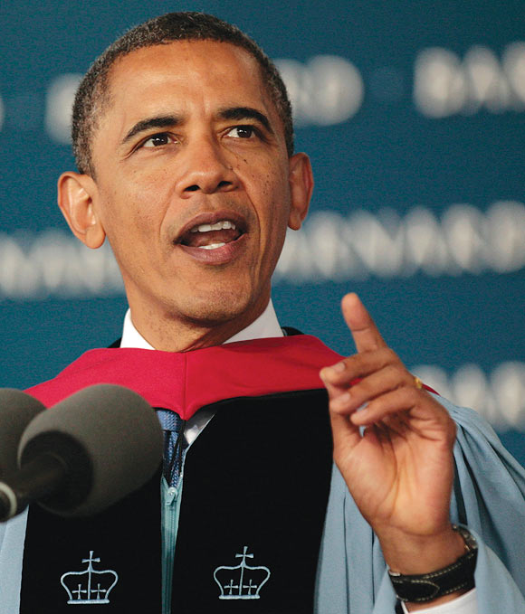 US President Barack Obama delivers his commencement address for the 2012 graduating class at Barnard College, New York, May 14