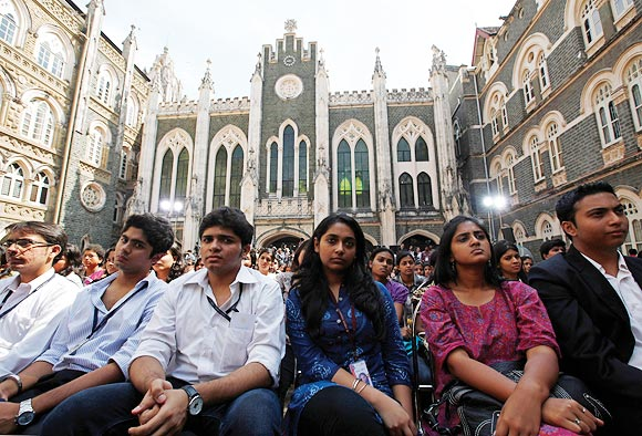 Students at a townhall meeting with US President Barack Obama at St. Xavier's College, Mumbai, November 7, 2010