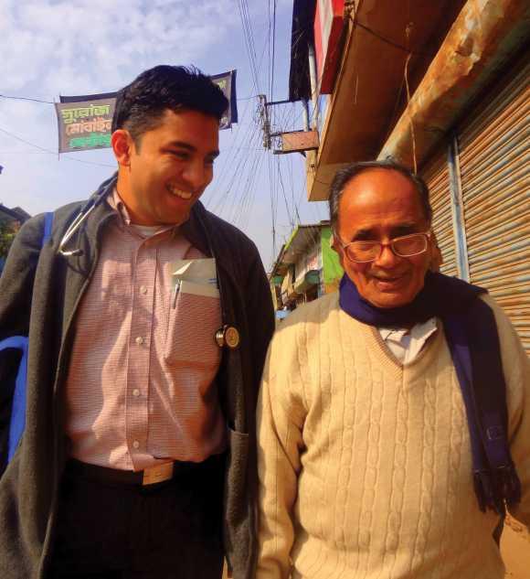 Victor Roy with his maternal grandfather Dr Sahadeb Samantha in Kolkata