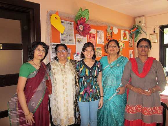 Shalaka (centre) with her mother Aparna Kulkarni (extreme left) and teachers