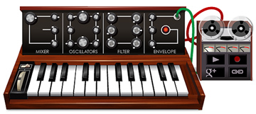 Screenshot of Moog's virtual synthesizer on Google home page
