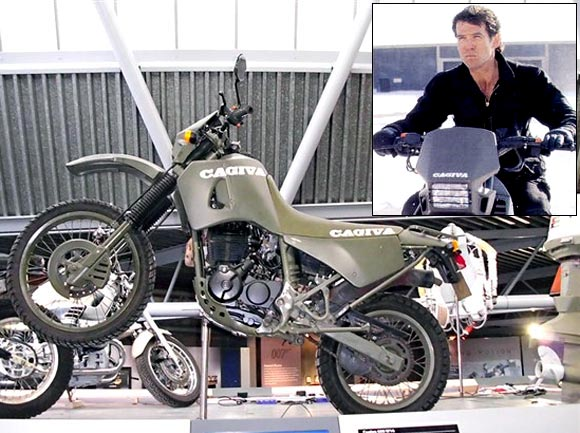 Cagiva W16 600; Inset: Pierce Brosnan as James Bond in Goldeneye