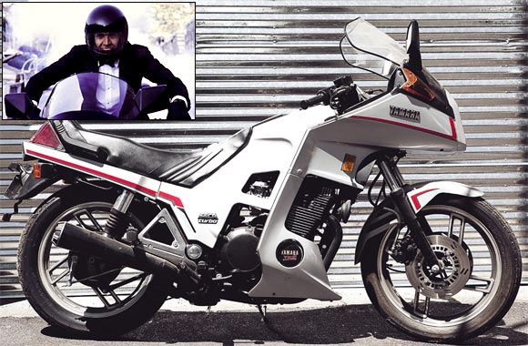 Yamaha XJ 650 Turbo; Inset: Sean Connery as James Bond in an action sequence in Never Say Never Again