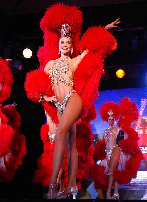 A Moulin Rouge dancer performs at the Sofitel Mumbai BKC hotel in Mumbai on October 31, 2012