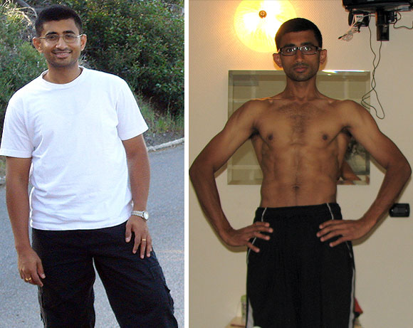 Sandeep Menon before and (right) after his weight loss