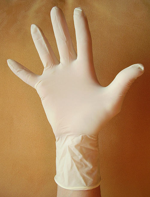 The thin, stretchy latex rubber in gloves is high in an allergic protein