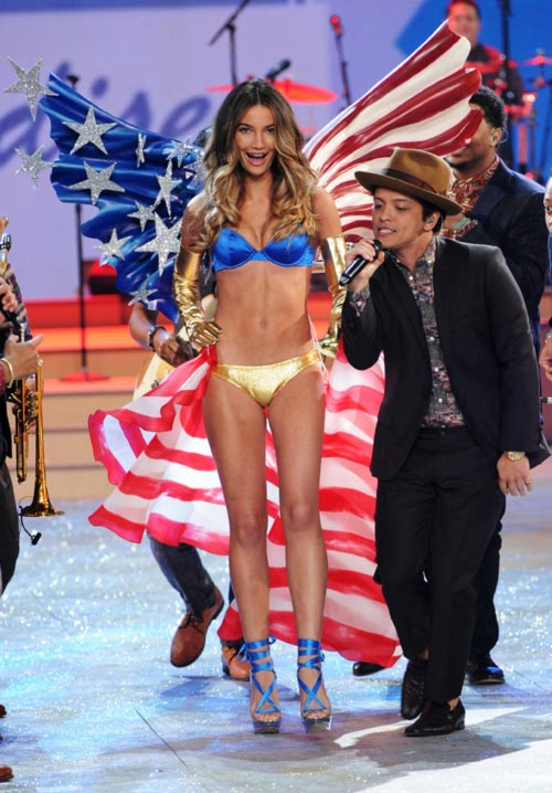 Lily Aldridge for Victoria's Secret and (right) Bruno Mars