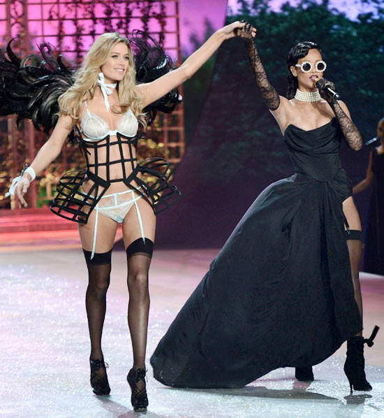 Doutzen Kroes for Victoria's Secret and (right) Rihanna