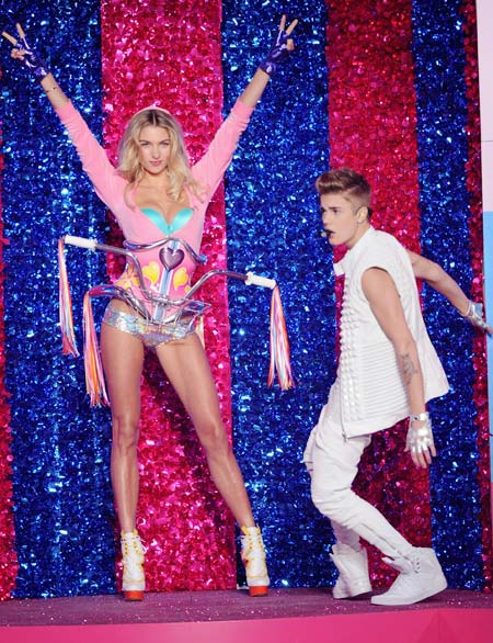 Jessica Hart for Victoria's Secret and (right) Justin Bieber