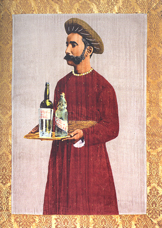 Gaj Singh, the abdar. Giclee print on silk velvet with cotton velvet border
